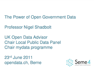 The Power of Open Government Data Professor, Nigel Shadbolt, UK Open Data Advisor