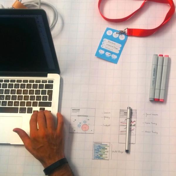 Desktop of a participant, sketching and prototyping a Tour de France data visualization